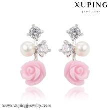92025 Xuping moda flor ródio CZ diamante imitação jóias brinco de vidro com pérola