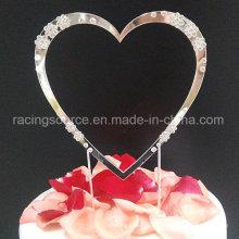 Diamantee Sparkly Decoración de la torta del solo corazón Decoración de la torta de boda