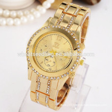 2015 men and women alloy rhinestone gold watch