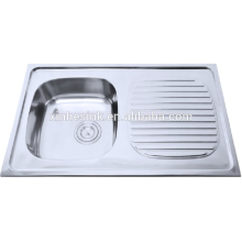 Single bowl stainless steel kitchen sink with dish drainer