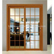 Porta deslizante de alumínio, porta de fibra de vidro com design de grelha contemporânea