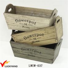 Multi-Color Distressed Wooden Planter for Garden Indoor Usage