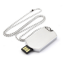 Metal Dog tag Usb Flash Drive com chaveiro