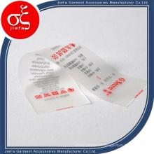 Etiqueta impressa / etiqueta de impressão em TPU personalizado de marca de preço barato