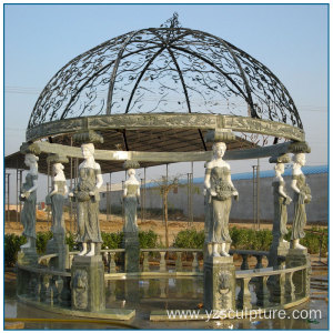 Outdoor life Size Lady Column Multi Color Marble Gazebo