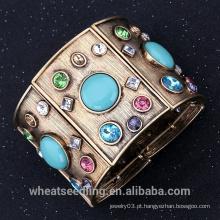 Vintage retro liga larga ampla pulseira com turquesa e cristal pulseira para mulheres