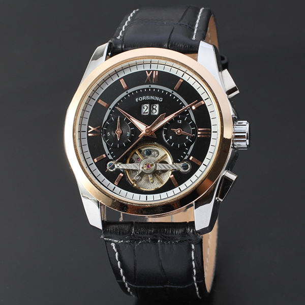 Mens Automatic Movemen Fashion Leather Strap Watch