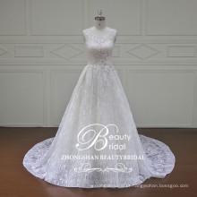 2017 Último vestido de noiva de marfim lindo vestido vestido de noiva de renda francês vestido de noiva alibaba sem alças