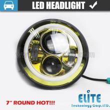 Faro redondo semirrígido de haz de 7 pulgadas con anillo de halo LED