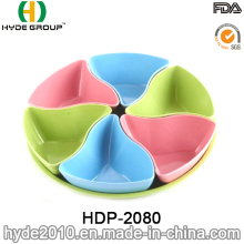 Pretty Eco-Freindly Bamboo Fiber Snack Plate (HDP-2080)