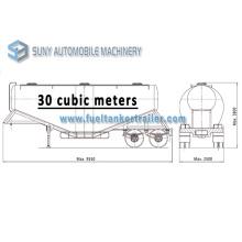 30 Cbm Dry Bulk Tank Trailer 2 Axis V Shape Cement Tanker Semi Trailer