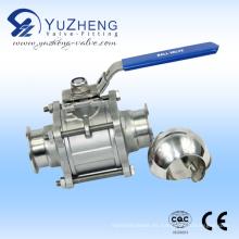 Válvula de bola sin retención manual 3PC Ss304 / Ss316L