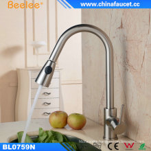 Beelee Brushed Nickel Pull out Kitchen Sink Faucet