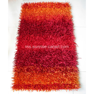 Viscose Polyester Shaggy dengan Design Carpet
