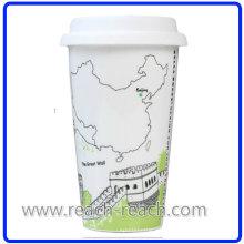 Taza de cerámica café ciudad con tapa (R-3017)