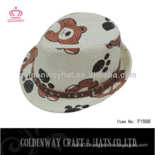 children straw paper bear hat