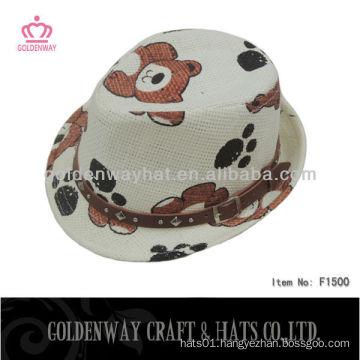 children straw paper bear hat