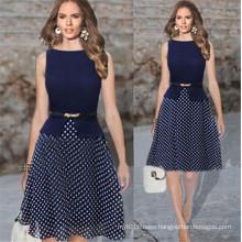 European Latest Dress Designs with Belt Elegant Lady Evening Dress