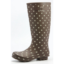 Women's Boots With White Dot Printing On Brown Base