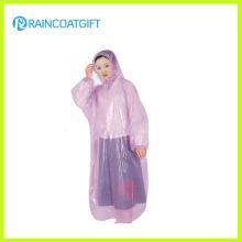 Impermeable desechable de plástico transparente con manga larga