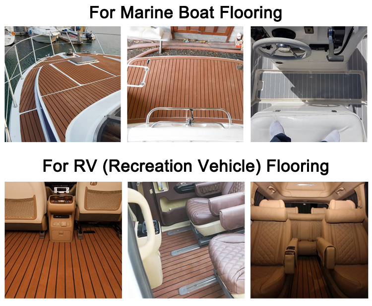 EVA Material Sythetic Heavy Duty Faux Teak Boat Flooring Sheet