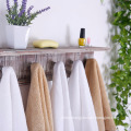 Rustic torched Wood Wall Mounted Floating Bathroom Shelf Towel Rack with 5 Hooks