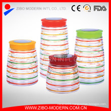 Colorful Glass Food Container Set 4 Custom Cookie Jar Decorative Airtight Glass Jar