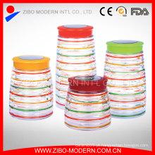 Colorido, vidro, alimento, recipiente, jogo, 4, personalizado, biscoito, jarro, decorativo, hermético, vidro, frasco