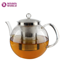 Melhor Venda de Produtos Resistentes Ao Calor Borossilicato Bule De Vidro Com Chá Infusor Para Ferver A Água Por Atacado