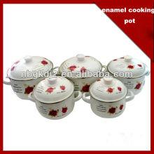 5pcs enamel cookware pot with flower decal