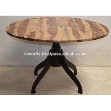 Industrial Cast Iron Base Restaurant Table Round Wooden Top
