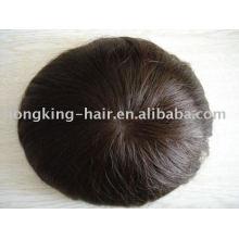 Pieza de cabello para hombres, reemplazo 100% cabello humano