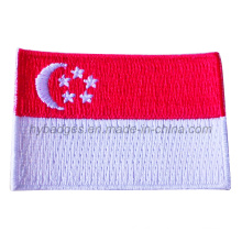 Singapore Flag Embroidery Badge Custom National Patch (GZHY-PATCH-012)