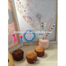 2015 hot sale die cut round flor em forma de letra feliz aniversário papel decorativo cupcake topper