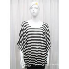 Damenmode Streifen gedruckt Polyester Gestrickte Frühling Hohl Shirt (YKY2202)