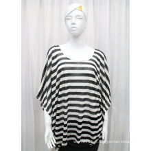 Lady Fashion Stripe Imprimé Polyester tricoté Spring Hollow Shirt (YKY2202)