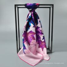 Usine de mode vente 90 * 90 écharpe en soie femmes en soie carré musulman écharpe