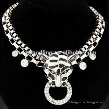 Moda exagerada punk leopardo curto colar colar de diamantes