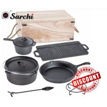 Pre-sazonado utensilios de cocina de hierro fundido para camping