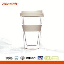 Grande tasse à café en verre à double paroi à double paroi