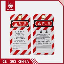 Red Streak Writable Machine Verwandte Risiko Warnung Label Tag (BD-P01)