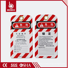 Red Streak Writable Machine Related Risk Warning Label Tag (BD-P01)