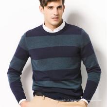 mais recente caxemira em volta do pescoço de suéter de malha listrada para homens