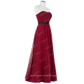 Starzz Strapless Off Shoulder Wine Red Chiffon Long Bridesmaid Dress ST000066-2