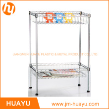 Kitchenware 2 Tier Chrome Steel Wire Shelving Storage Rack With 2 Baskets