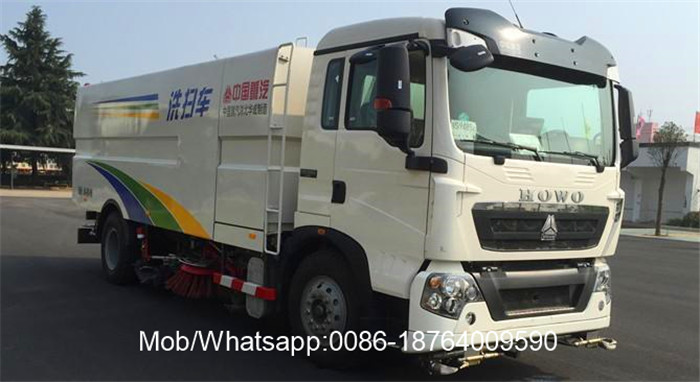 Truck with Sweeper and Washer