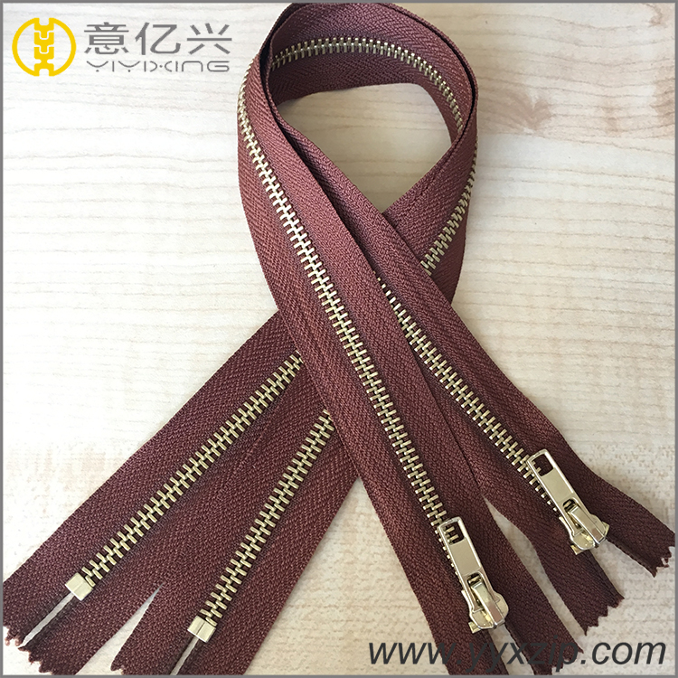 fashion gold metal zipper