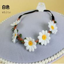 Bandeau de ruban de couronne de tournesol blanc (HEAD-355)