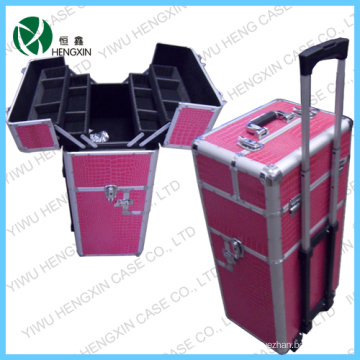 Coffre cosmétique professionnel de maquillage de chariot en aluminium