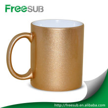 Customed printed logo ceramic golden mug dye sublimation mugs